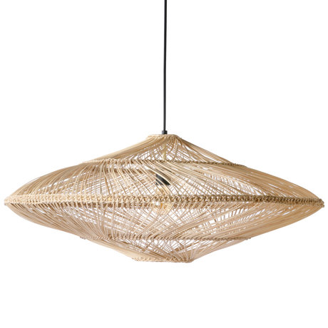 HK-living Hanging lamp Wicker oval natural brown wicker 80x80x30,5cm