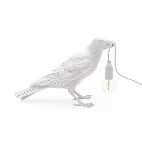 Seletti Tischlampe Bird waiting weiß im Freien 33,5x11,5x10,5cm