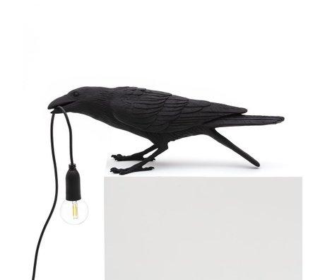 Seletti Lampe de table Oiseau jouant noir extérieur 33,5x11,5x10,5 cm