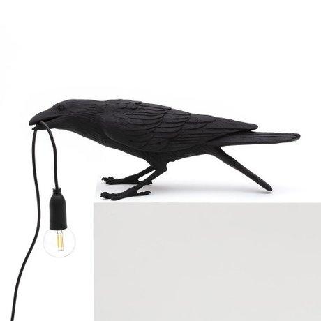 Seletti Tischlampe Vogel spielen schwarz im Freien 33,5x11,5x10,5 cm