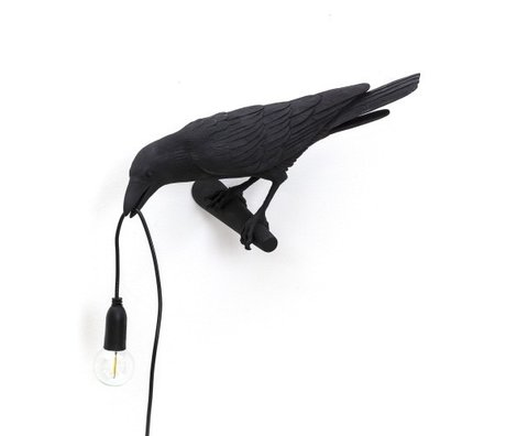 Seletti Wandleuchte Bird Looking links schwarz außen 32,8x14,5x12,3cm