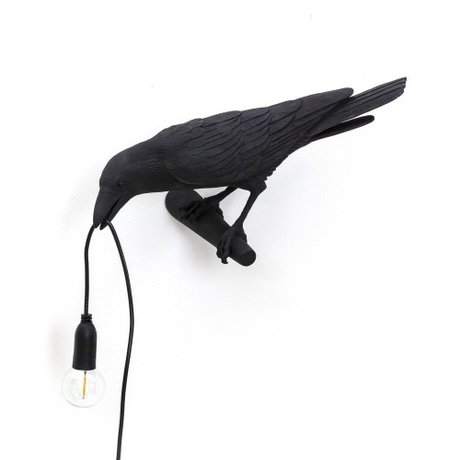 Seletti Wall lamp Bird Looking left black outdoor 32.8x14.5x12.3cm