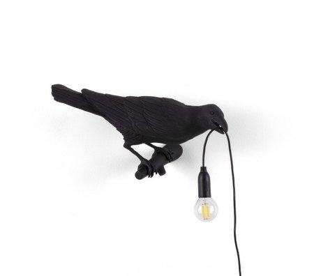 Seletti Wandlamp Bird Looking right zwart outdoor 32,8x14,5x12,3cm