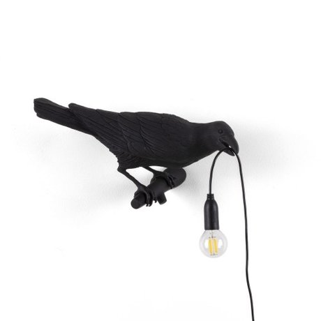Seletti Wall lamp Bird Looking right black outdoor 32.8x14.5x12.3cm