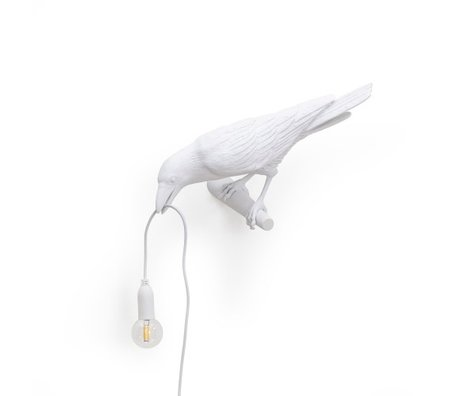 Seletti Wandleuchte Vogel schaut links weiß 32,8x14,5x12,3cm