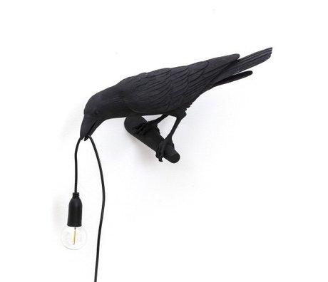 Seletti Wandlamp Bird looking left zwart 32,8x14,5x12,3cm