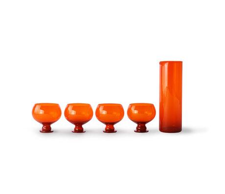 HK-living Glazen en Karaf Funky Orange set van 5 oranje sodaglas 8x8x10cm glas 8x9x24cm karaf