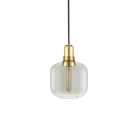 Normann Copenhagen Hanging lamp amp gold smoked glass metal S Ø14x17cm