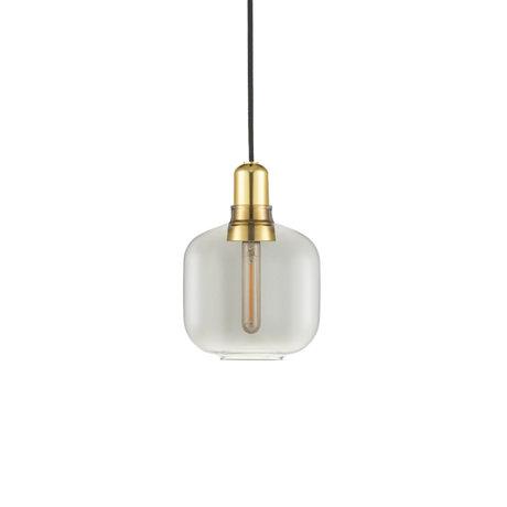 Normann Copenhagen Lampe suspendue ampli verre fumé or métal S Ø14x17cm