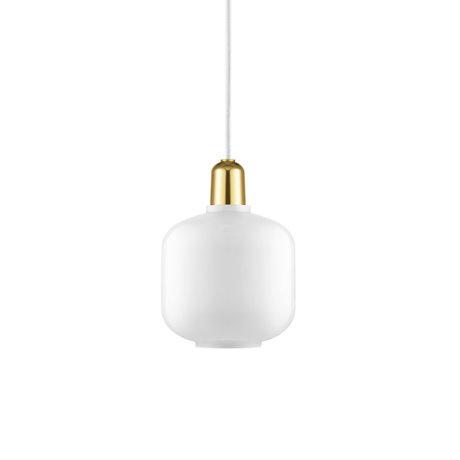 Normann Copenhagen Lampe suspendue ampli or blanc verre métal S Ø14x17cm