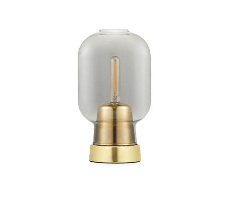 Normann Copenhagen Tafellamp amp goud  smoked glas metaal Ø14x26,5cm