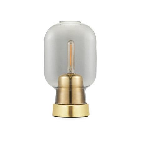 Normann Copenhagen Lampe de table ampli verre fumé or métal Ø14x26.5cm