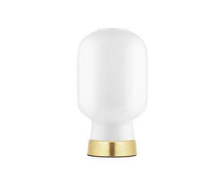 Normann Copenhagen Tischlampe Amp Gold Weißglas Metall Ø14x26.5cm