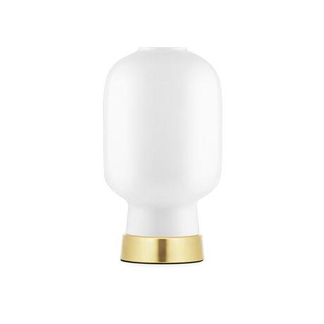Normann Copenhagen Lampe de table ampli verre or blanc métal Ø14x26.5cm