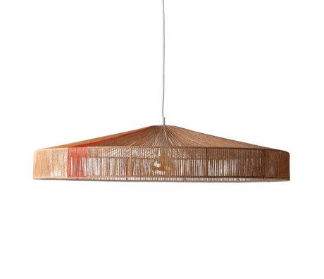 HK-living Lampe suspendue avec câble Terra marron corde en papier rouge 70x70x15cm