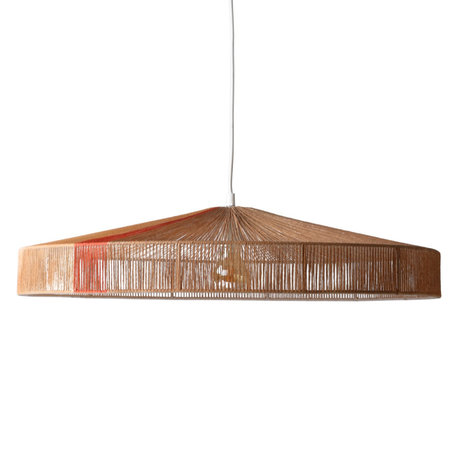 HK-living Hanging lamp with cable Terra brown red paper rope 70x70x15cm