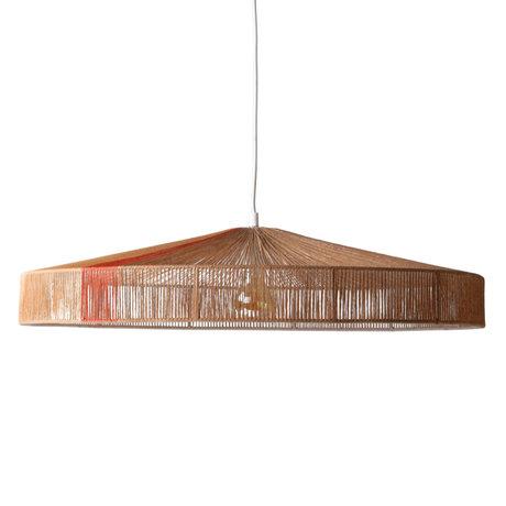 HK-living Hanglamp met kabel Terra bruinrood papier touw 70x70x15cm