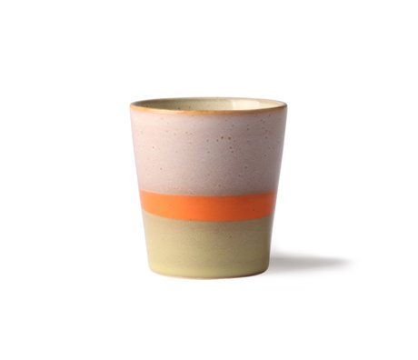 HK-living 70er Jahre Becher Saturn Multicolor Keramik 7,5x7,5x8cm