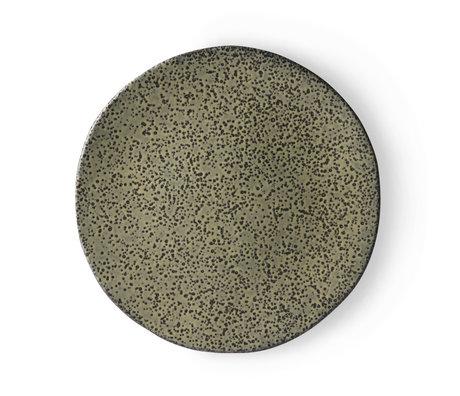 HK-living Assiette plate Dégradé de céramique verte 29x29x1,7 cm ⌀ 29