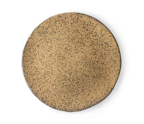 HK-living Essteller Teller Pfirsich braun orange Keramik Ø29x1.7cm