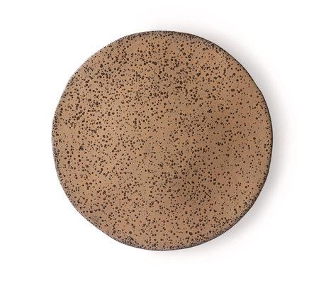 HK-living Essteller Teller Taupe dunkelgrau Keramik Set von 2 Ø29x1.7cm