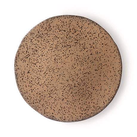 HK-living Dinner plate Gradient taupe dark gray ceramic set of 2 Ø29x1.7cm