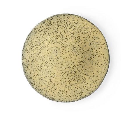 HK-living Essteller Gelb verlaufend Keramik 29x29x1,7 cm ⌀ 29