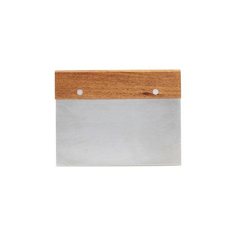 Nicolas Vahe Deegsnijder bruin zilver acaia hout roestvrij staal 11,5x1,5x15cm