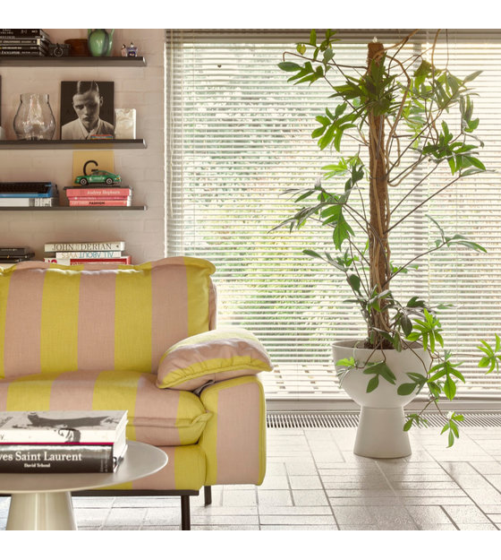 4 Persoons Design Bank.Bank Retro 4 Zits Strepen Nude Geel Polyester 245x83x95cm