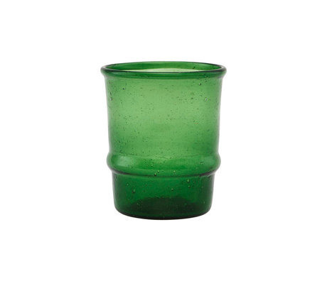 Housedoctor Teelichthalter Jeema dunkelgrünes Glas Ø6,5x7,5cm