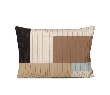 Ferm Living Oreiller Shay sable marron coton 60x40cm