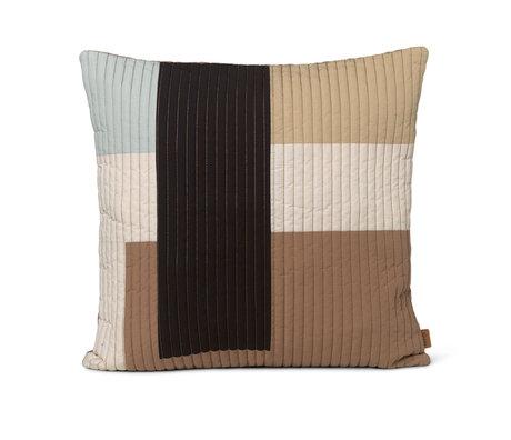 Ferm Living Oreiller Shay sable brun coton 50x50cm