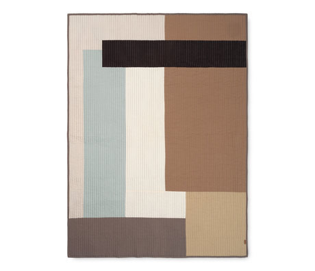 Ferm Living Tapisserie coton Shay sable marron 130x180cm