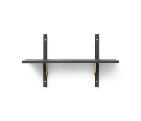 Ferm Living Wall rack Sector S / S dark gray brass plywood 54x22.1x34cm
