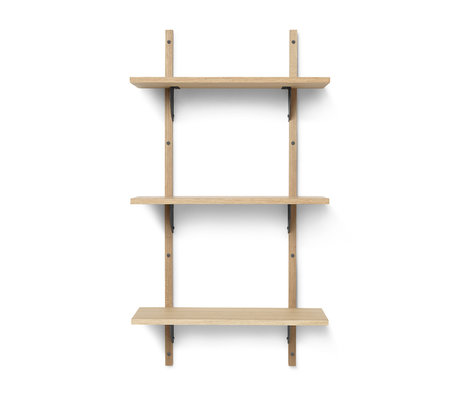 Ferm Living Wall rack Sector S / L natural black brass plywood 54x22.1x102cm