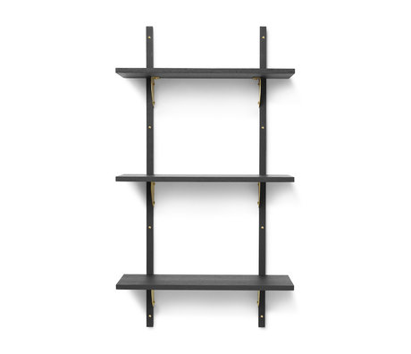 Ferm Living Wall rack Sector S / L dark gray brass plywood 54x22.1x102cm