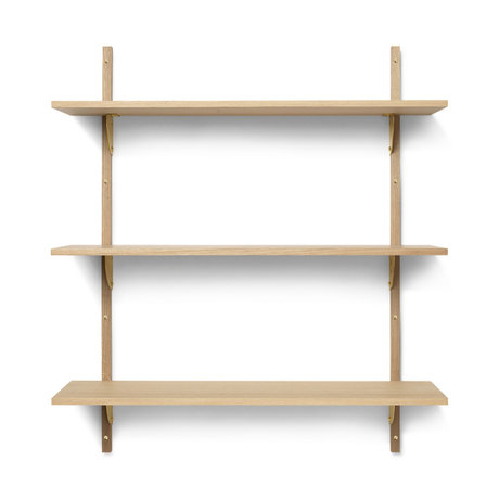 Ferm Living Wall rack Sector L / L natural brass plywood 87x26.1x102cm