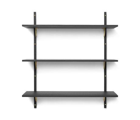 Ferm Living Wall rack Sector L / L dark gray brass plywood 87x26.1x102cm
