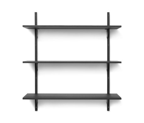 Ferm Living Wall rack Sector L / L dark gray black brass plywood 87x26.1x102cm