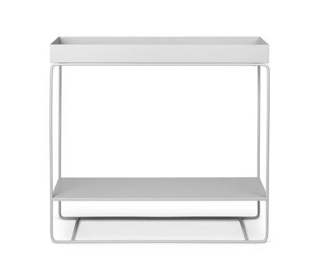 Ferm Living Boîte à plantes à deux niveaux en métal enduit de poudre gris clair 25x80x75cm