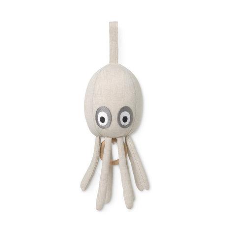 Ferm Living Mobile musique Octopus sable marron coton 10x10x30cm
