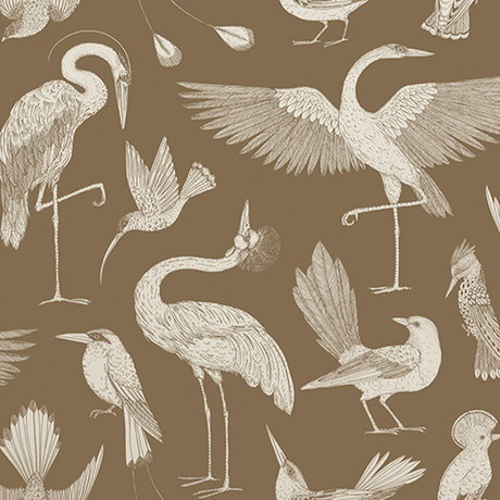 Ferm Living Wallpaper Katie Scott birds brown 10x0.53m