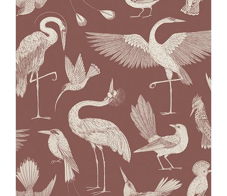 Ferm Living Papier peint oiseaux Katie Scott rouge 10x0.53m