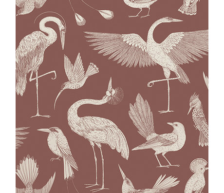Ferm Living Wallpaper Katie Scott Vögel rot 10x0.53m