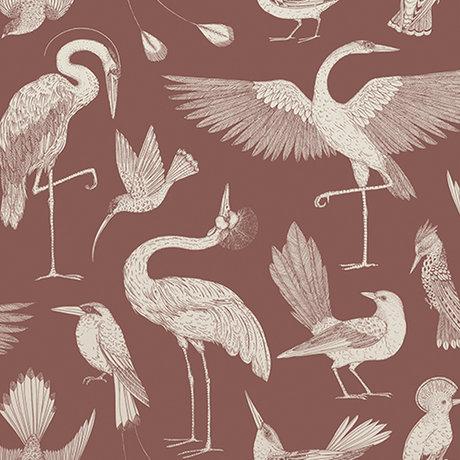 Ferm Living Behang Katie Scott vogels rood 10x0,53m