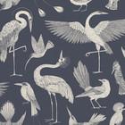 Ferm Living Wallpaper Katie Scott birds dark blue 10x0.53m