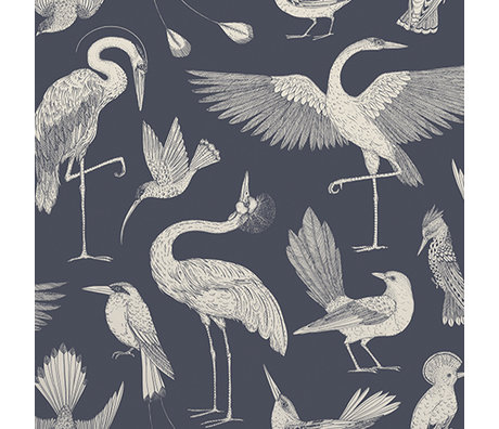 Ferm Living Behang Katie Scott vogels donkerblauw 10x0,53m