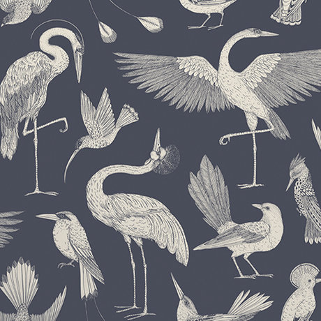 Ferm Living Papier peint oiseaux Katie Scott bleu foncé 10x0.53m