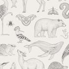 Ferm Living Wallpaper Katie Scott animals off-white 10x0.53m
