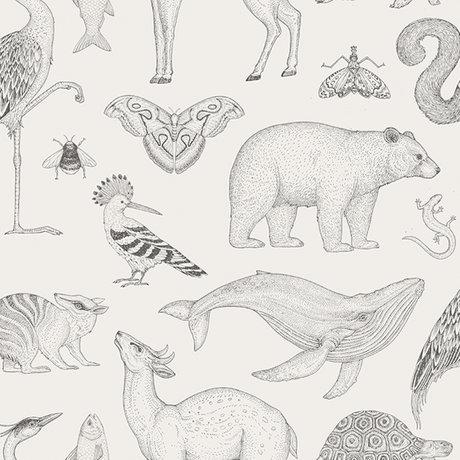 Ferm Living Papier peint animaux Katie Scott blanc cassé 10x0.53m